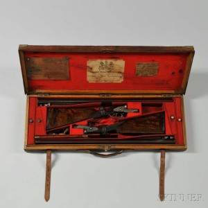 Pair of James Woodward & Sons Snap-action Sidelock 12 Gauge Double-barrel Shotgun 'The Automatic' in Maker's Case, c. 1874-79 (Lot 49, Estimate: $18,000-22,000)