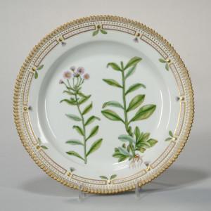 "Twelve Royal Copenhagen ""Flora Danica"" Porcelain Large Plates, Denmark, second half 20th century (Lot 735, Estimate: $1,200-1,800)"