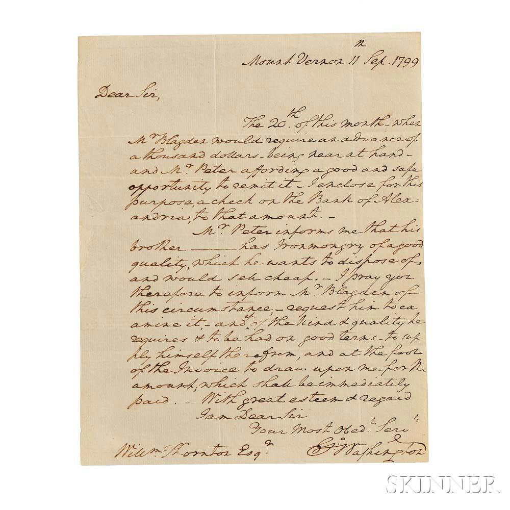 Washington, George (1732-1799) Autograph Letter Signed, Mount Vernon, 11 September 1799 (Lot 36, Estimate: $15,000-20,000)
