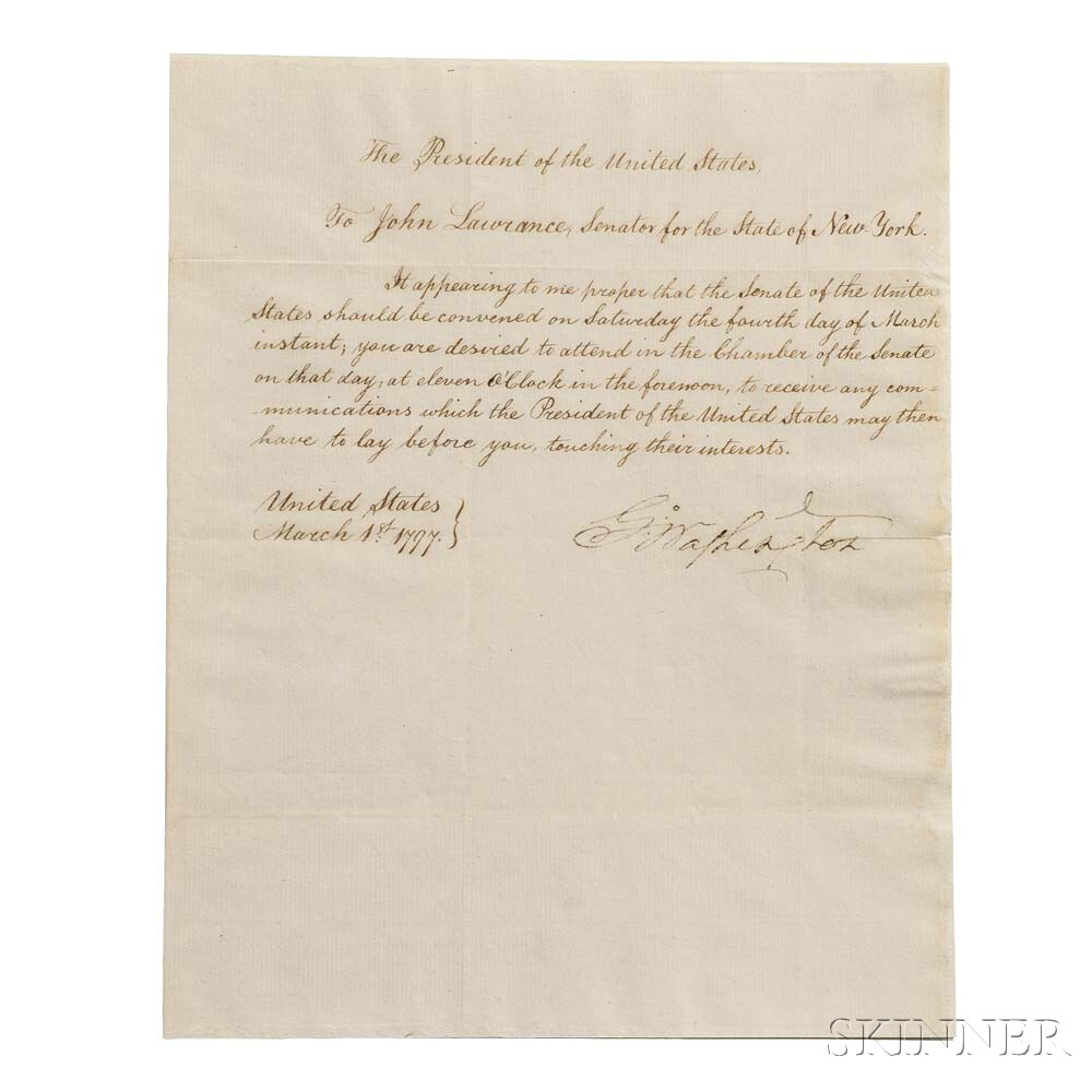 Washington, George (1732-1799) Circular Letter Signed as President, Philadelphia, 1 March 1797 (Lot 31, Estimate: $30,000-40,000)