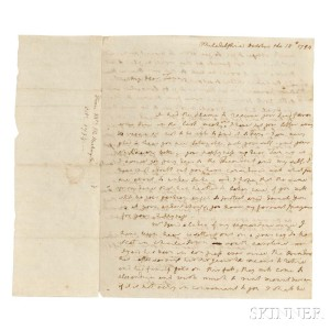 Washington, Martha (1731-1802) Autograph Letter Signed, Philadelphia, 18 October 1794 (Lot 25, Estimate: $15,000-20,000)