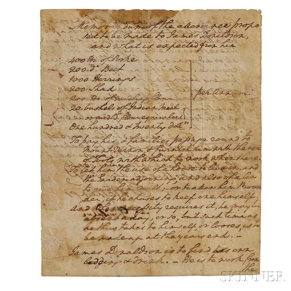 Washington, George (1732-1799) Autograph Document Signed, Philadelphia, 29 September 1794 (Lot 23, Estimate: $15,000-20,000)