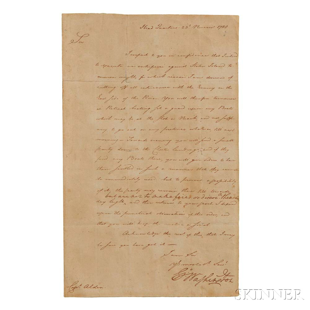 Washington, George (1732-1799) Letter Signed, Headquarters, Passaic Falls, New Jersey, 23 November 1780 (Lot 8, Estimate: $8,000-10,000)