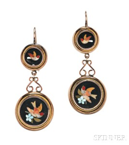 Antique Gold and Pietra Dura Earrings (Lot 92, Estimate: $300-500)