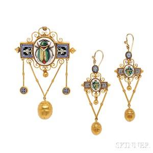 Egyptian Revival Gold and Micromosaic Demi-parure, c. 1865 (Lot 195, Estimate: $2,500-3,500)