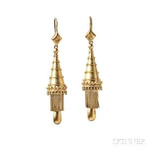 Gold Earrings, c. 1845 (Lot 222, Estimate: $800-1,200)