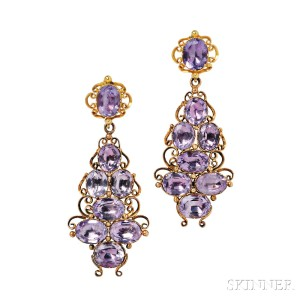Gold and Amethyst Earrings, c. 1835 (Lot 175, Estimate: $1,500-2,000)