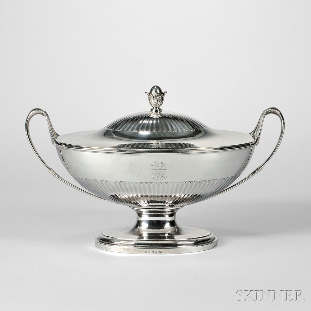 George III Sterling Silver Covered Soup Tureen, London, 1790-91 (Lot 10, Estimate: $3,000-5,000)