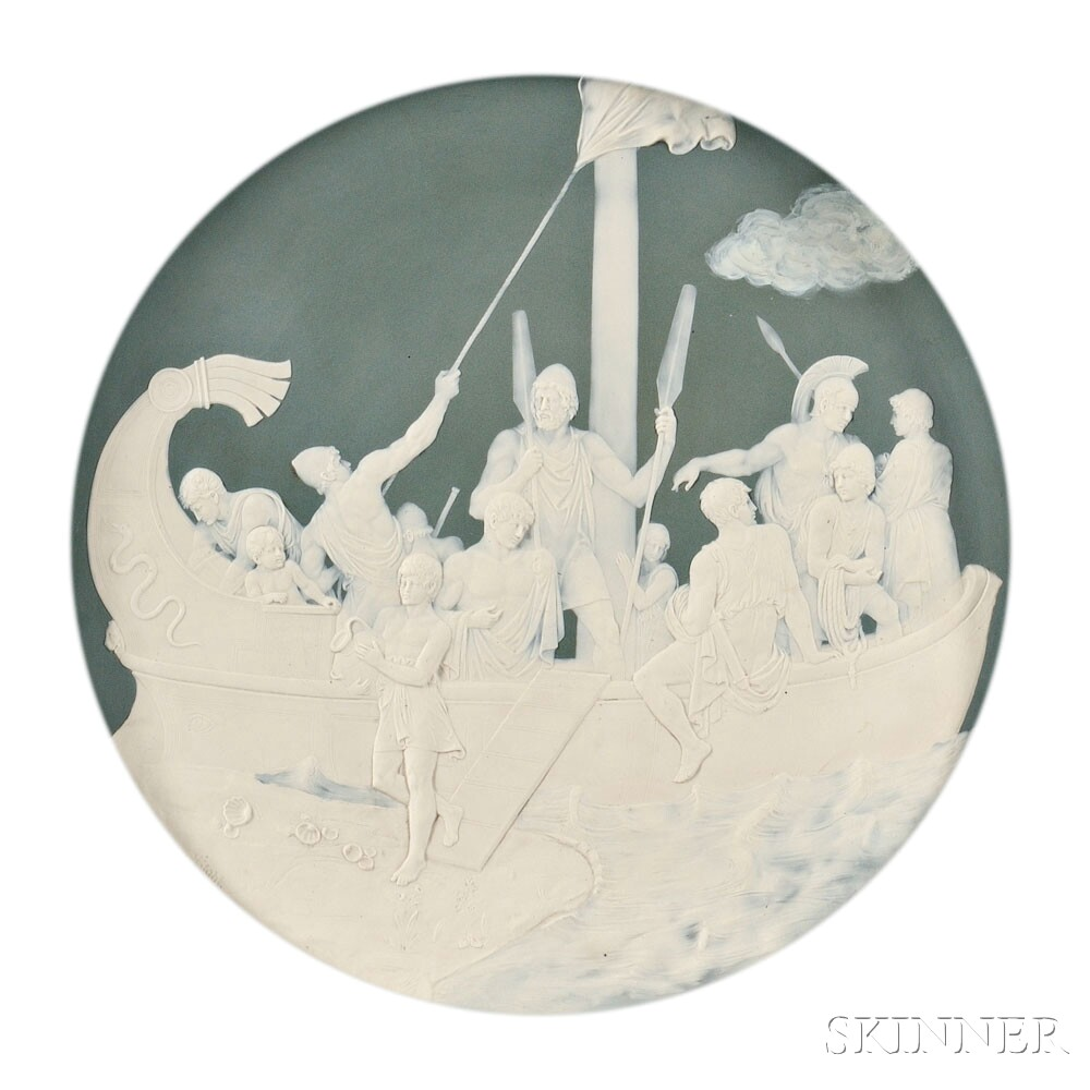 Two Mettlach Stoneware Cameo Chargers, Germany, c. 1898 (Lot 480, Estimate: $1,200-1,800)
