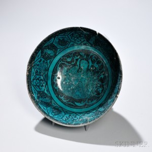 Turquoise and Black Kashan Deep Bowl (Lot 37, Estimate $2,000-3,000)