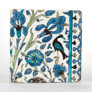 Damascus Pottery Tile (Lot 26, Estimate $500-700)