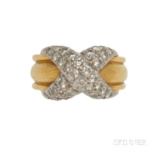 Platinum, 18kt Gold, and Diamond Ring, Schlumberger for Tiffany &   Co. (Lot 1024, Estimate: $1,500-2,000)