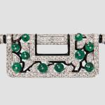 Art Deco Platinum, Diamond, Emerald, and Enamel Brooch, Charlton & Co. (Lot 443, Estimate $15,000-20,000)