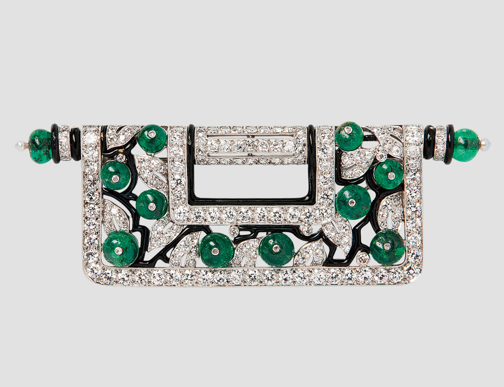 Art Deco Platinum, Diamond, Emerald, and Enamel Brooch, Charlton & Co. (Lot 443, Estimate $15,000-20,000)