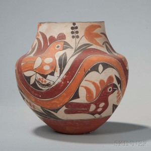 Acoma Four-color Pottery Olla, c. last quarter 19th century (Lot   299, Estimate: $4,000-6,000)