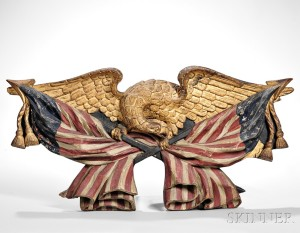 Carved Polychrome and Gilt Eagle Plaque, America, 19th century (Lot 602, Estimate: $8,000-12,000)