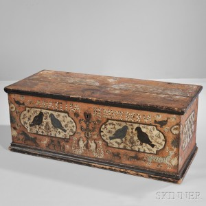 Paint-decorated Dower Chest 'Maria Elisabed Webern,' Berks County, Pennsylvania, late 18th century (Lot 63, Estimate: $10,000-15,000)