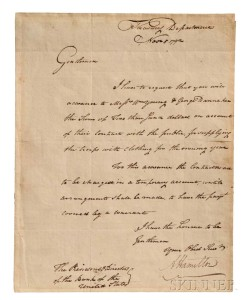 Hamilton, Alexander (1757-1804) Letter Signed, 5 November 1792 (Lot 87, Estimate $6,000-8,000)