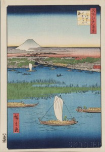 Thirteen Utagawa Hiroshige (1797-1858) Woodblock Prints, Japan (Lot 1521, Estimate: $2,000-3,000)