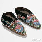 Pair of Cherokee Beaded Hide Moccasins, c. 1830s (Lot 131,   Estimate: $12,000-16,000)