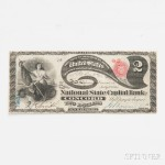 The National State Capitol Bank of Concord $2 Original Banknote (Estimate: $15,000-18,000)