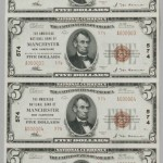 The Amoskeag National Bank Uncut Sheet of 1929 $5 Notes, Manchester, New Hampshire (Estimate: $3,000  -5,000)
