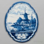 Large Delft Ceramic Landscape Plaque, 20th century (Lot 1445, Estimate: $200-250)