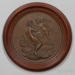 Framed Cast Bronze Medallion of Cupid and Psyche, Metallic Compress Casting Co., Boston,   Massachusetts (Lot 1245, Estimate: $200-400)