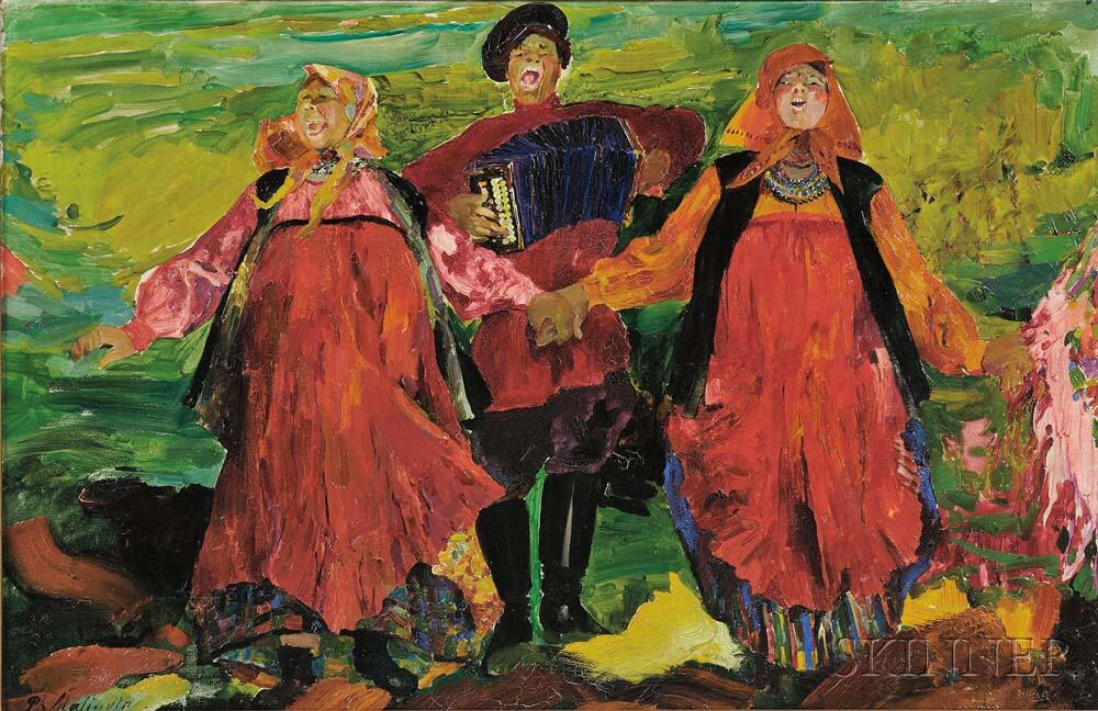 Filip Malyavin (Russian, 1869-1940) Russian Peasants Singing (Estimate: $150,000-250,000)