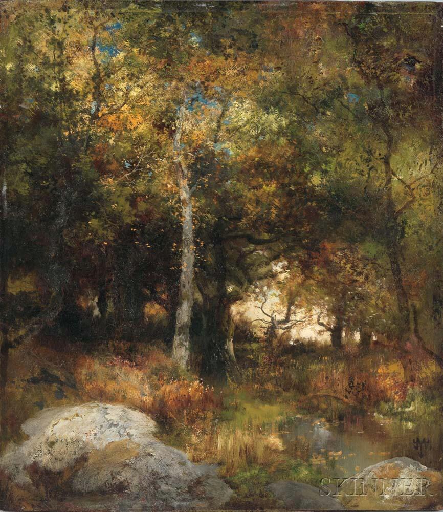 Thomas Moran (American, 1837-1926) Autumn Woods, alternately titled Yosemite Landscape (Lot 276, Estimate: $70,000-90,000)