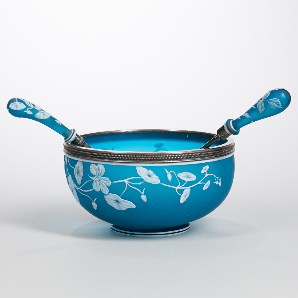 The Party Host - Help your host to set an elegant holiday table with this bright blue salad bowl. Thomas Webb & Sons Blue Cameo Glass Salad Bowl and Two Gorham Sterling-mounted Servers, Lot 2234
