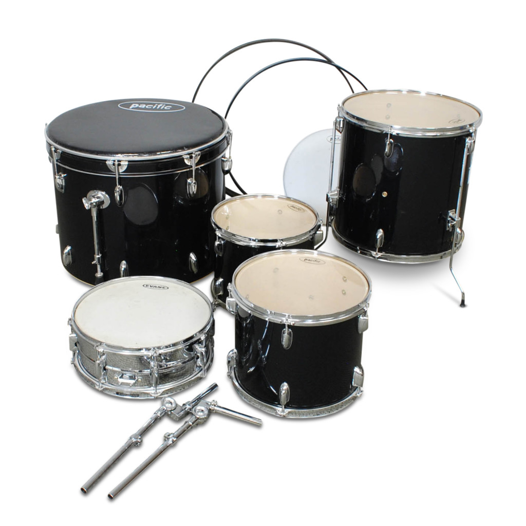 The Kids Treat the children and the neighbors to percussion practice sessions with this Pacific Five-piece Drum Set including snare, bass drum, floor tom, and two tom-toms 1874