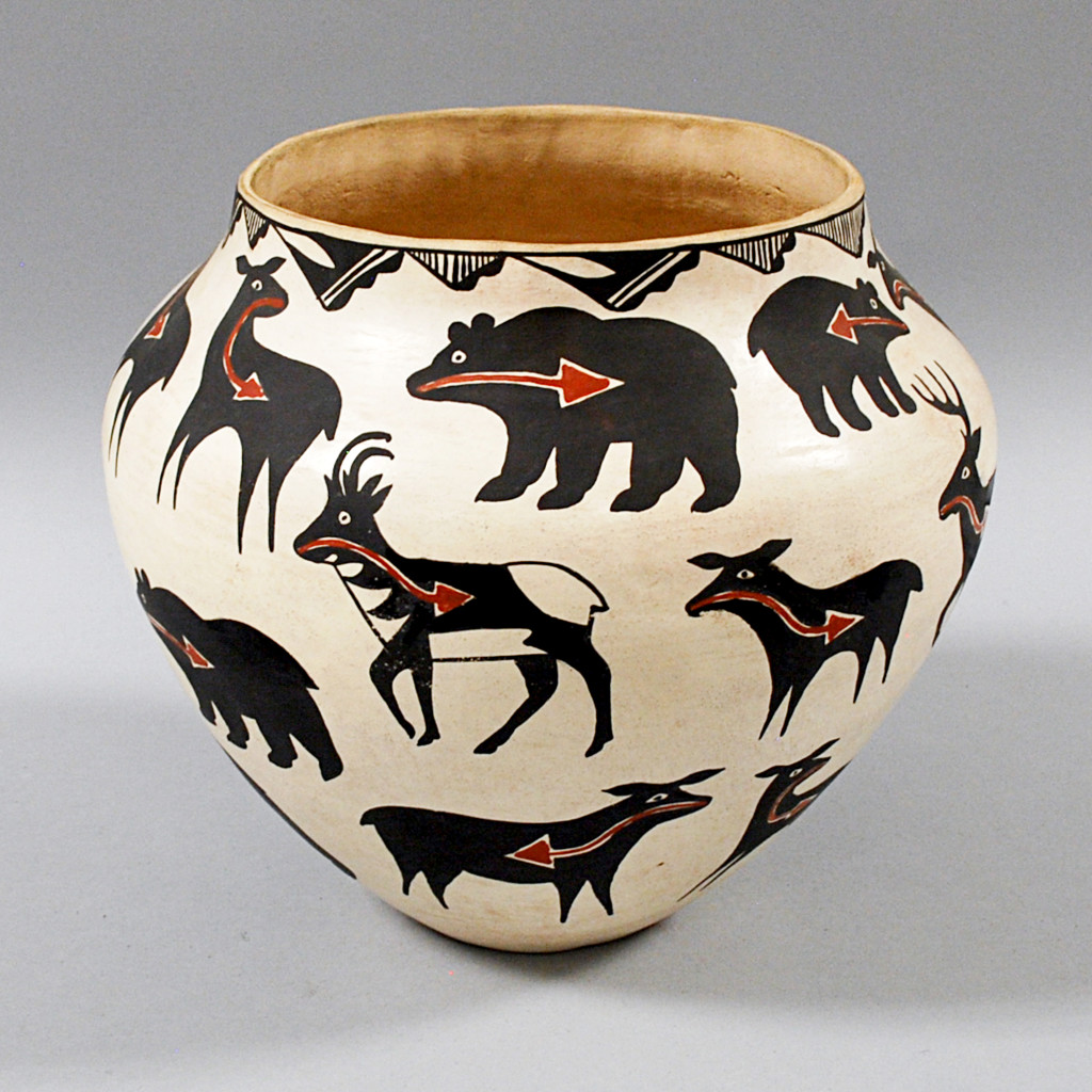 The Animal Lover- Acoma Pictorial Pottery Jar, Lot 1702- Whether it's bears, antelope, or sheep, this graphic jar captures a breadth of wildlife that you can have safely in your own home.
