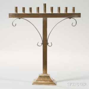 American Brass and Silverplated Hanukkah Lamp (Lot 1031) With its simple and refined form this Hanukkah lamp has a modern look and clean lines popular at the turn of the 20th century in America.