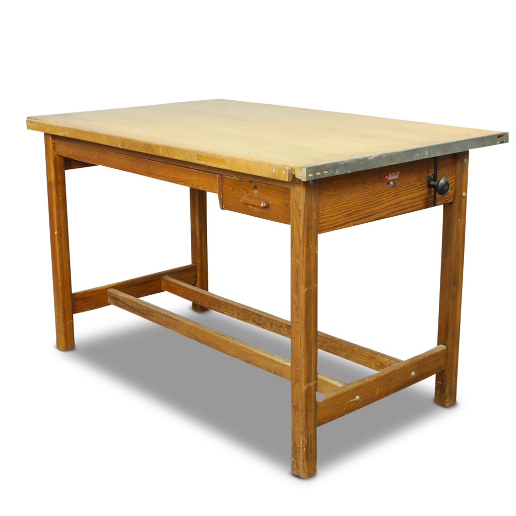 The Architect - Large Hamilton Oak and Maple Drafting Tables, Lots 2515 – For either a DIY project or designing a modern skyscraper, this drafting tables large writing surface enables any project-minded person to the best they can be.