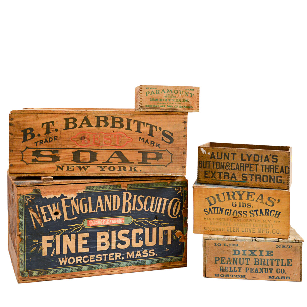 The Interior Decorator - Six Early 20th Century Boxes, Lot 1995 - As functional items with early paper labels and New York and Massachusetts history, these boxes will appeal to anybody with an apartment equipped with exposed beams and brick walls.