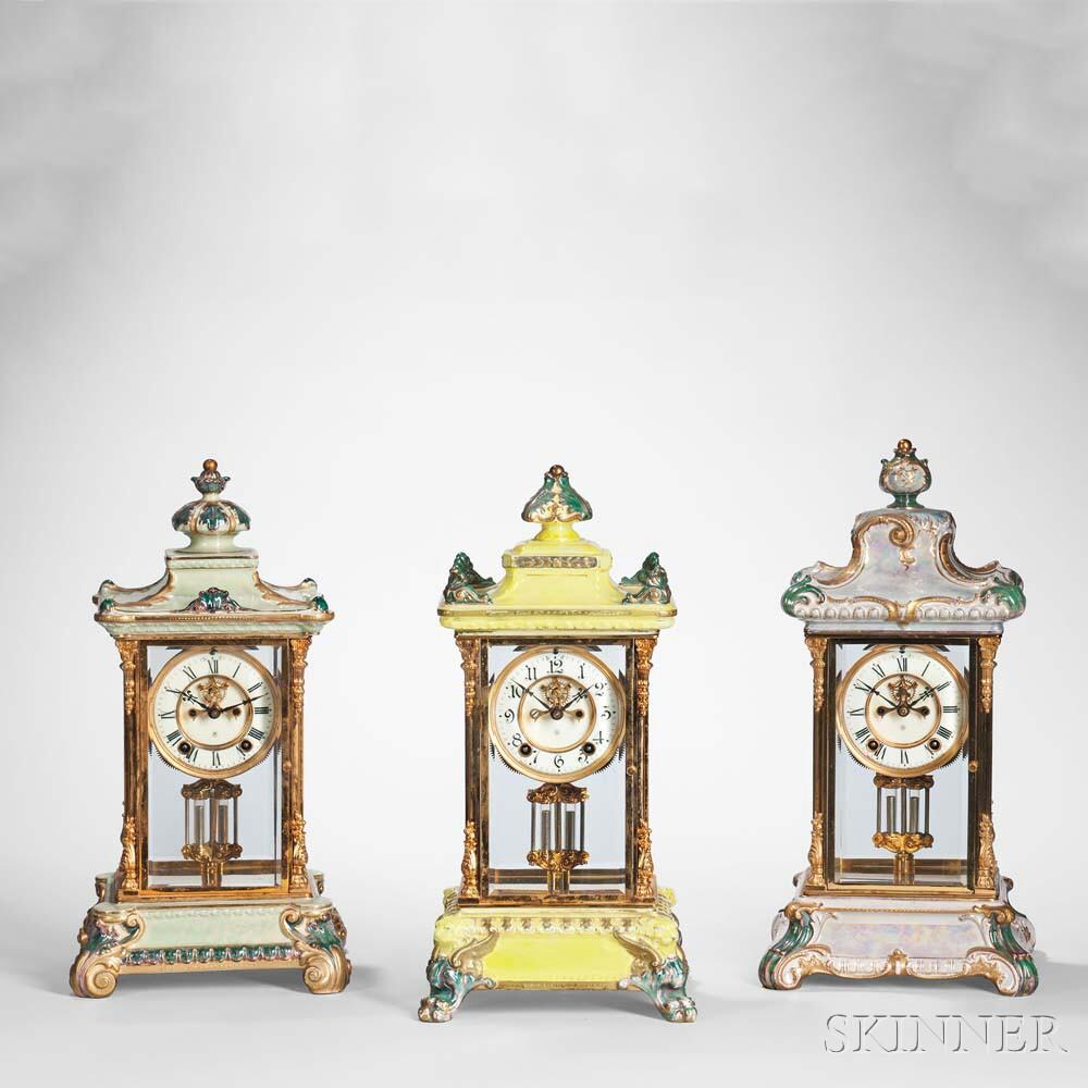 Royal Bonn Porcelain Ansonia Mantel Clocks, early 20th century (Lots 395, 396, 397, Estimate: $1,000-1,500)