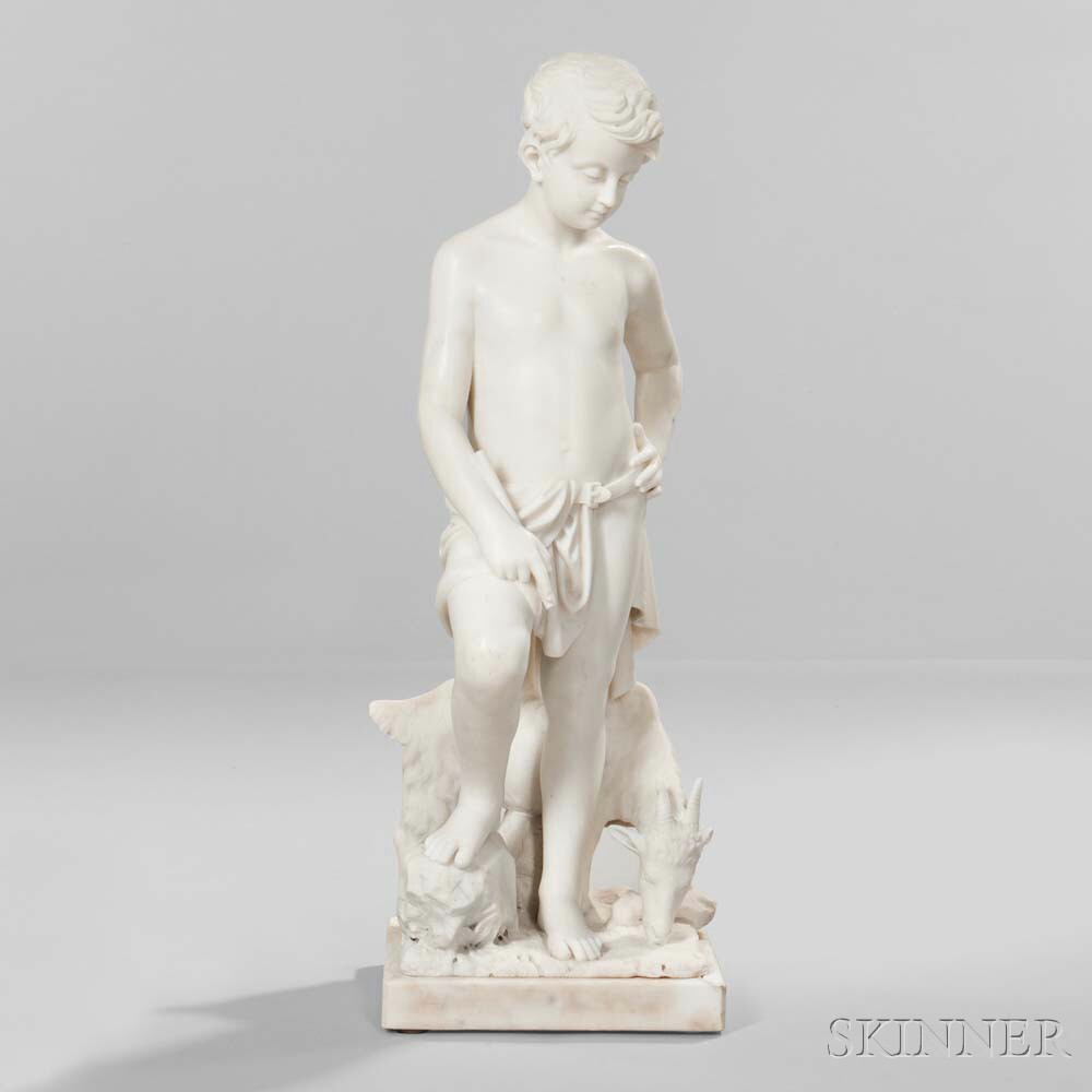 Continental School, 19th century, Marble Sculpture of a Boy with a Goat (Lot 678, Estimate: $2,000-4,000)