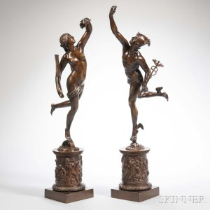 After Giambologna (Flemish, 1529-1608) Grand Tour Figures of Mercury and Fortona (Lot 411, Estimate: $5,000-7,000)