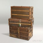 Louis Vuitton Steamer Trunk, France, early 20th century (Lot 378, Estimate: $3,000-5,000)  Louis Vuitton Upright Wardrobe, France, early 20th century (Lot 376, Estimate: $3,000-5,000) Louis Vuitton Steamer Trunk, France, early 20th century (Lot 377, Estimate: $2,000-4,000)