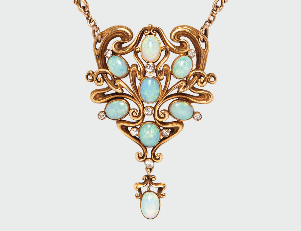 [Detail] Art Nouveau Opal Necklace, Marcus & Co. (Lot 506, Estimate: $20,000-30,000)