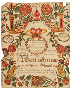 Watercolor and Pen and Ink Fraktur for Elisabeth Burger (b. 1824), attributed to George Gottfried Ephraim Burger (Hempfield Township, Westmoreland County, Pennsylvania, 1790-1861 (Lot 359, Estimate: $6,000-8,000)