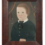 Prior/Hamblen School, Possibly the Work of E.W. Blake, Mid-19th Century, Portrait of a Boy in a Black Coat Holding a Riding Crop (Lot 390, Estimate: $4,000-6,000)