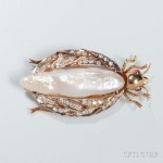 14kt Gold, Diamond, Baroque Pearl, and Ruby Beetle Brooch (Lot 1013, Estimate: $800-1,200)
