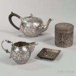 Four Pieces of Silver Repousse Tableware (Lot 1403, Estimate: $200-300)