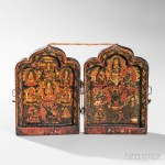 Two-panel Portable Shrine, Tibetan China (Lot 44, Estimate: $2,000-3,000)