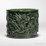 Spinach Green Jade Brush Pot, China, 18th/19th century (Lot 193, Estimate: $5,000-7,000)