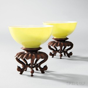 Rare Pair of Lemon Yellow-glazed Wine Cups, China, Yongzheng (1723-35) period (Lot 281, Estimate $30,000-50,000)