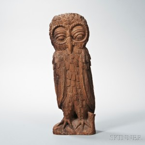 Large Carved Wood Owl Figure, 20th century (Lot 45, Estimate