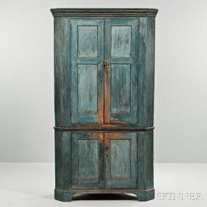 Blue-painted Pine Corner Cupboard, 18th century (Lot 79, Estimate $1,500-2,500)